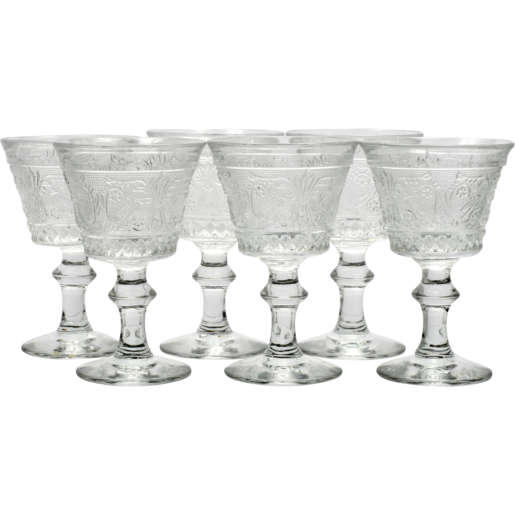 Duncan and Miller Sandwich Glass Wine Glasses set of 6 Vintage Elegant Glass