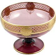 Cambridge Elegant Glass Amethyst Bowl with E708 Gold Encrusted Etch Vintage 1930s