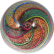 Glass Eye Studio Paperweight Cranberry Cane Dichroic Rainbow Spirals Vintage 1996 Signed