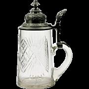 Antique Cut Glass Stein Tankard American Brilliant or Bohemian Crystal