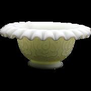 Fenton Persian Medalion Custard Glass Fairy Lamp Base Vintage Art Glass