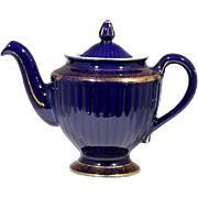 Hall Teapot Cobalt Blue Los Angeles with Gold Decoration 083 Vintage Ribbed