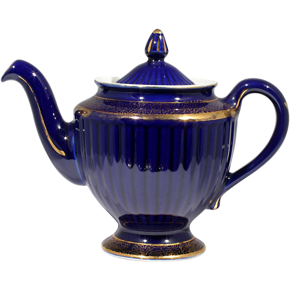 Hall Teapot Cobalt Blue Los Angeles With Gold Decoration