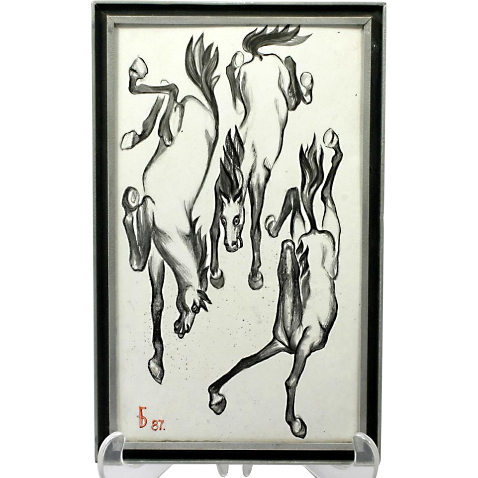 Russian Enamelled Art Falling Horses Vintage 1987 Vladimir Baburov