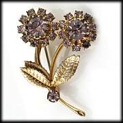 Dainty Lavender Rhinestone and Goldtone Floral Pin Brooch Vintage Sparkler