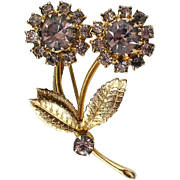 Vintage Flower Brooch Lavender Rhinestone and Gold Tone