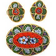 Italian Micro Mosaic Brooch & Earrings Demi Parure, Vintage 1970's