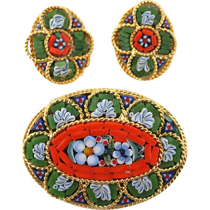 Italian Millefiori Mosaic Brooch and Earrings Set Vintage 1970s