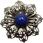 Silver and Faux Lapis Brooch Flower with Art Glass Cabochon