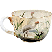 Moser Crackle Glass Cup Heron Enameling Amber Stained Plants Marsh Stork