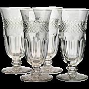 Vintage Cut Glass Tall Glasses Set of 4 Iced Tea Parfait Panel and Cross Cut Diamonds