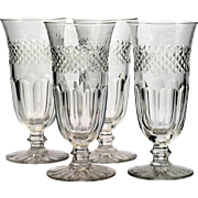 Vintage Cut Glass Tall Glasses Set of 4 Iced Tea Parfait Panel and Cross Cut Diamonds