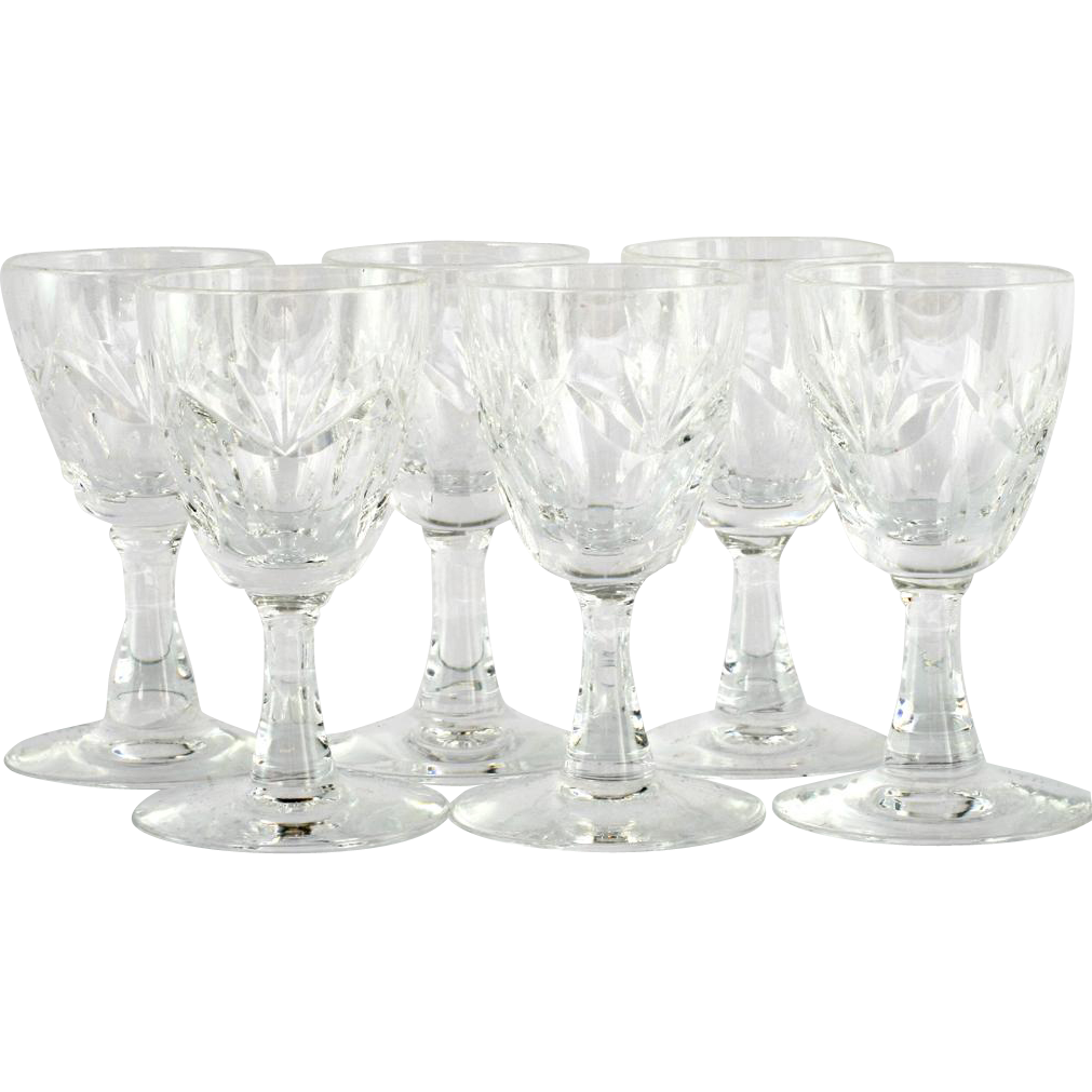 Webb Corbett Inverness Cordial Glasses Sherry Port English Crystal Set 6 1950s
