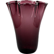 Amethyst Art Glass Vase Hand Blown Ruffled Vintage Purple