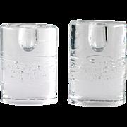 "Iittala Arkipelago Oval Candle Holders Vintage Finland Art Glass Timo Sarpaneva 4"""