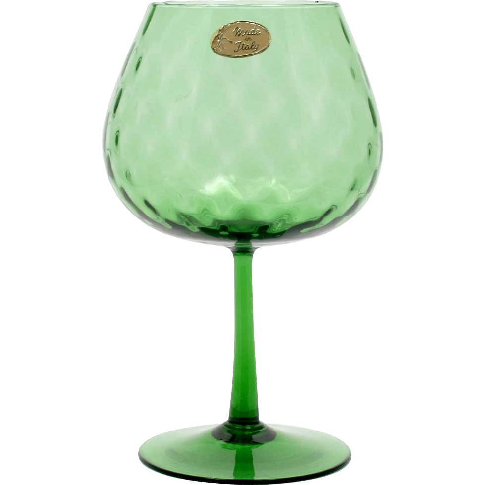 Italian Empoli Emerald Green Glass Vase Diamond Optic Vintage with Label