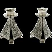 Pewter Hand Made Candlesticks Scandinavian Arts and Crafts Norway KNL Tinn