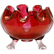 Beaumont Vintage Glass Rose Bowl Ruby Stained with Branch Feet