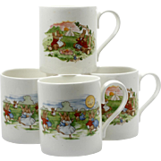Royal Doulton Bunnykins Mugs Set of Four English Porcelain Vintage