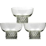 Duncan and Miller Teardrop Dessert Bowls Set of 3 Vintage Elegant Glass