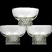Duncan and Miller Teardrop Dessert Bowls Set of 3 Vintage Elegant Glass