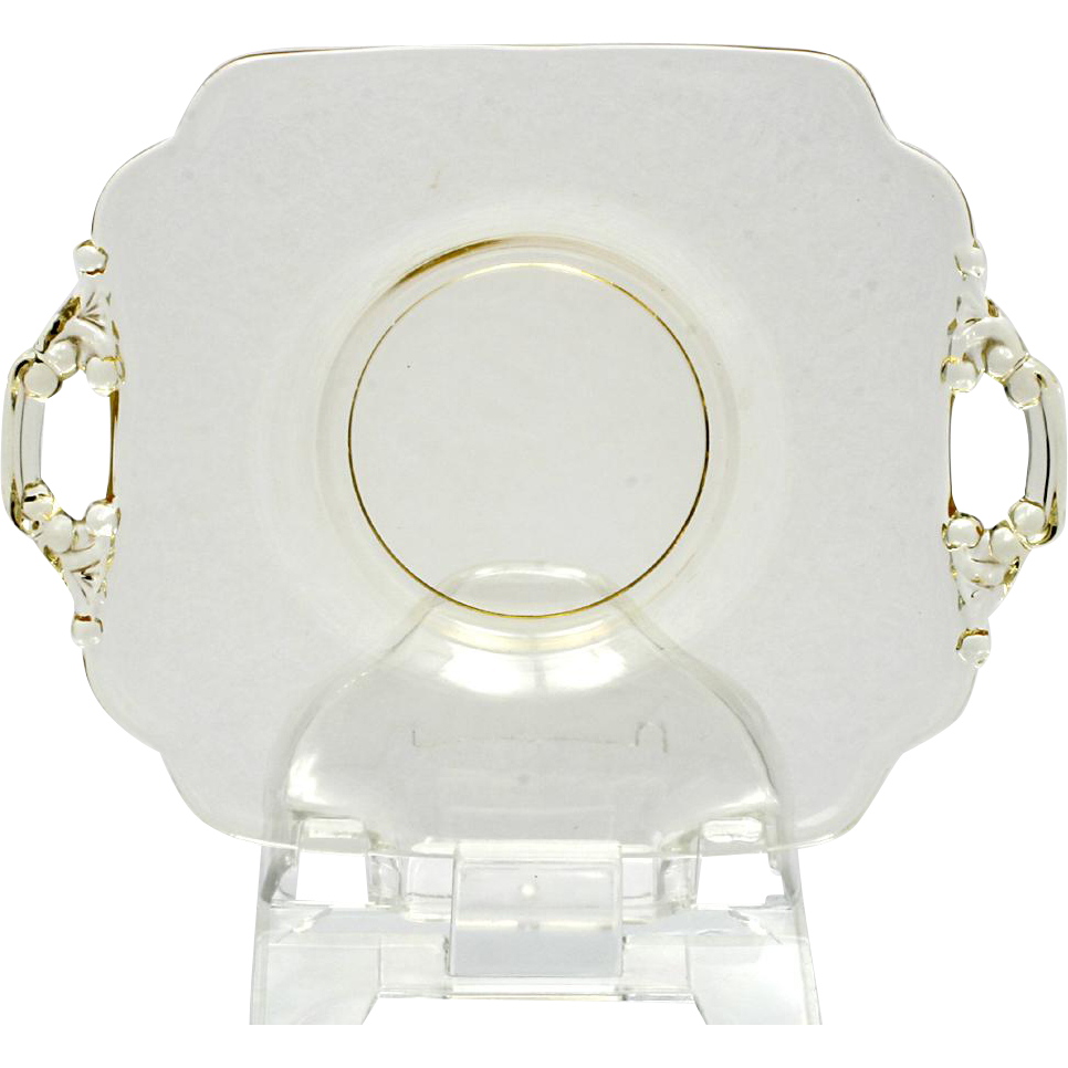 Cambridge Glass Keyhole Plate Yellow Double Handled Elegant Glass