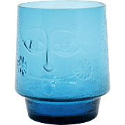 Blue Art Glass Tumbler with Face Pattern Scandinavian Mid Century Modern Style