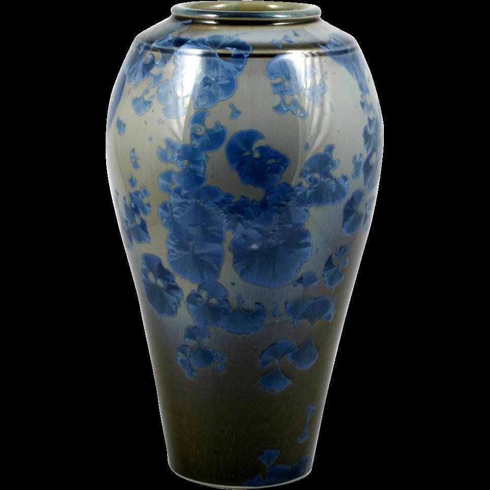 Blue Crystalline Art Pottery Vase Doug Kaigler Large Flower Vase Home Decor