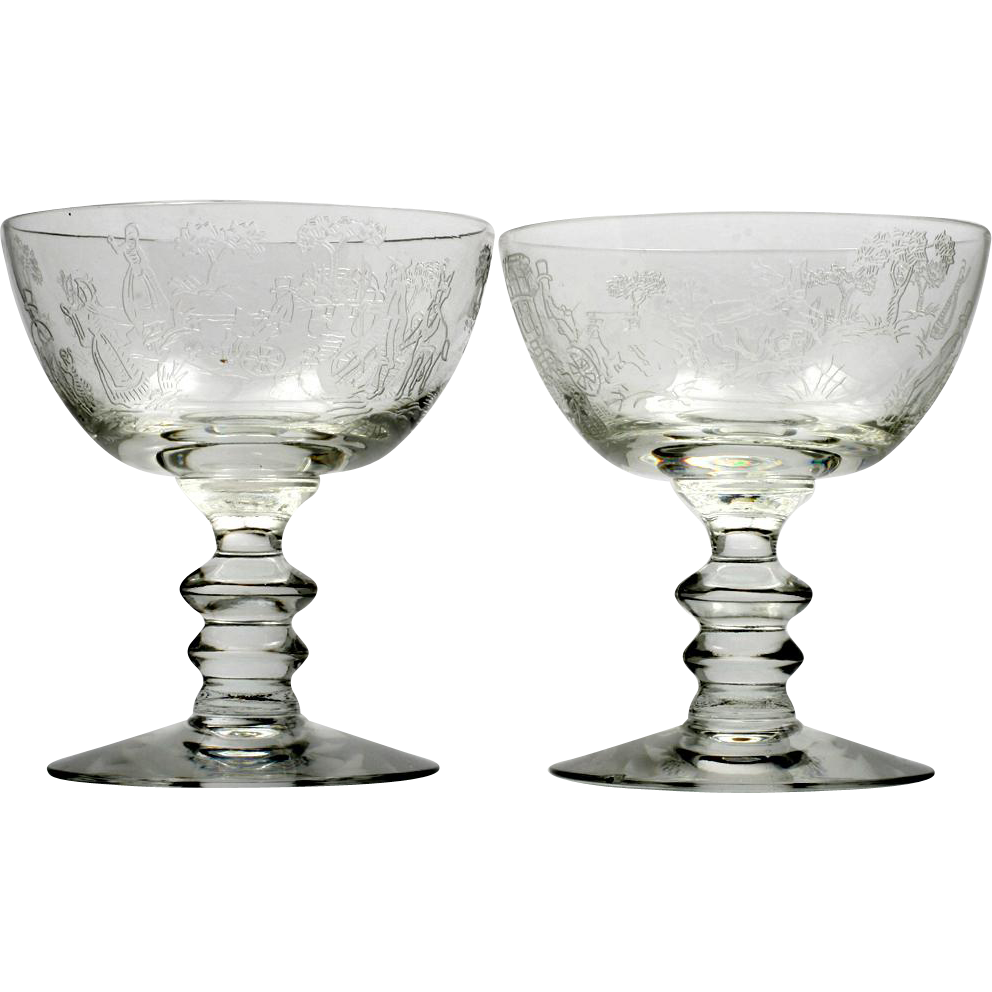 Fostoria Plymouth Etched Champagne Glasses Vintage 1930s Elegant Glass Set 2