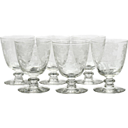 Fostoria Plymouth Etched Glasses Oyster Fruit Cocktail Vintage 1930s Elegant Glass Set 6