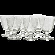Fostoria Plymouth Etched Glasses Oyster Fruit Cocktail Vintage 1930s Elegant Glass Set 6