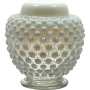 Fenton French Opalescent Hobnail Ginger Gar Vintage Art Glass Moonstone American