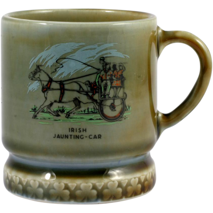 Wade Irish Porcelain Mug Cup Jaunting Car Design Green Blue Vintage