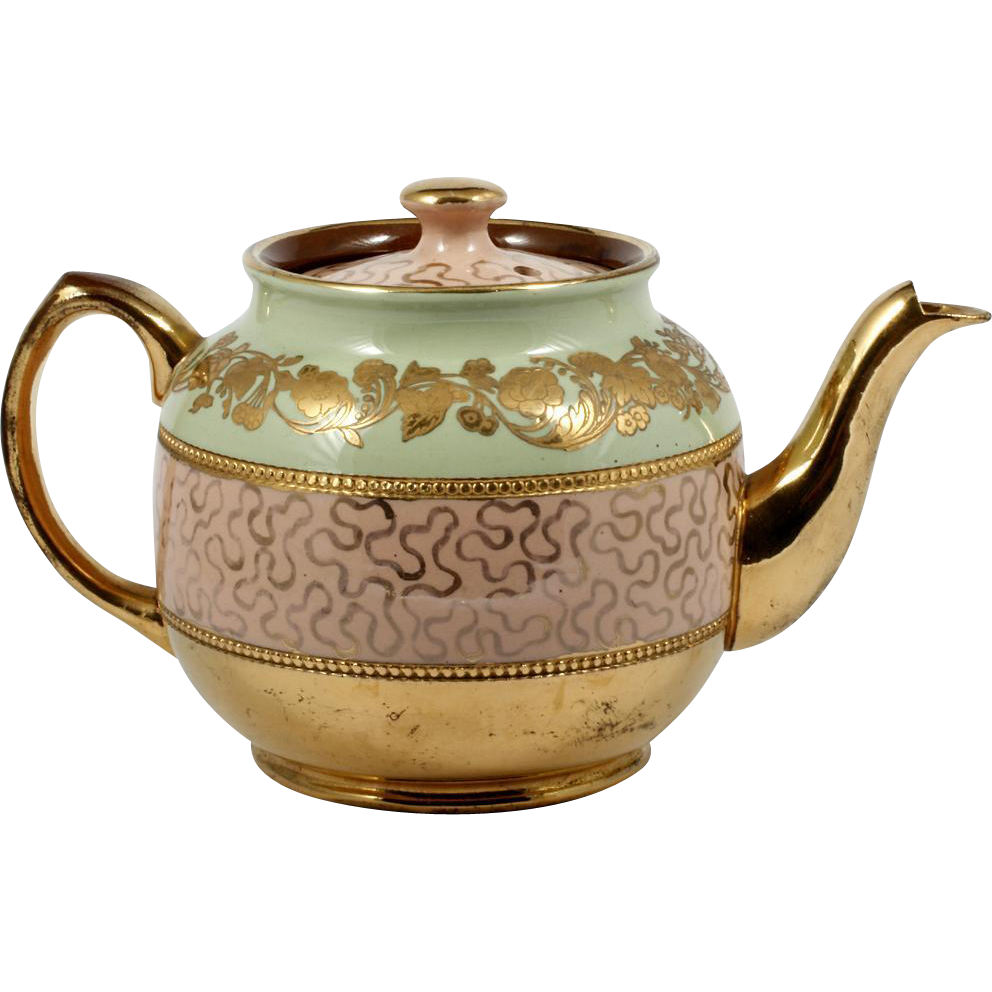 Sadler Brown Betty Teapot English Pottery Pink Green Gold Flowers