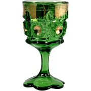 Bulls Eye and Daisy EAPG Green Wine Goblet Antique Glass Gold