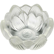Fenton Crystal Mist Lotus Blossom Bowl Art Glass Vintage 1970s Candle Holder