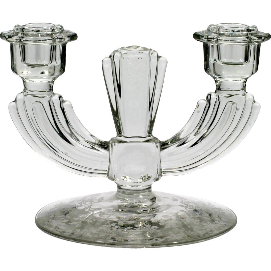 Tiffin Cerice Etched Glass Candleholder Duo Vintage Elegant Glass