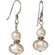 Pink Freshwater Pearl Dangle Earrings