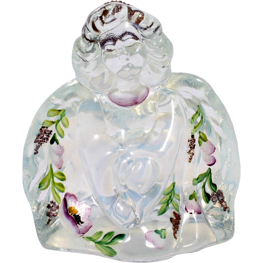 Fenton Opalescent Art Glass Angel Figurine Hand Painted Flowers 95th Anniversary
