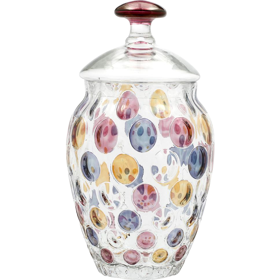 Czech Art Glass Nemo Jar Borske Sklo by Max Kannegiesser Bohemian Dots