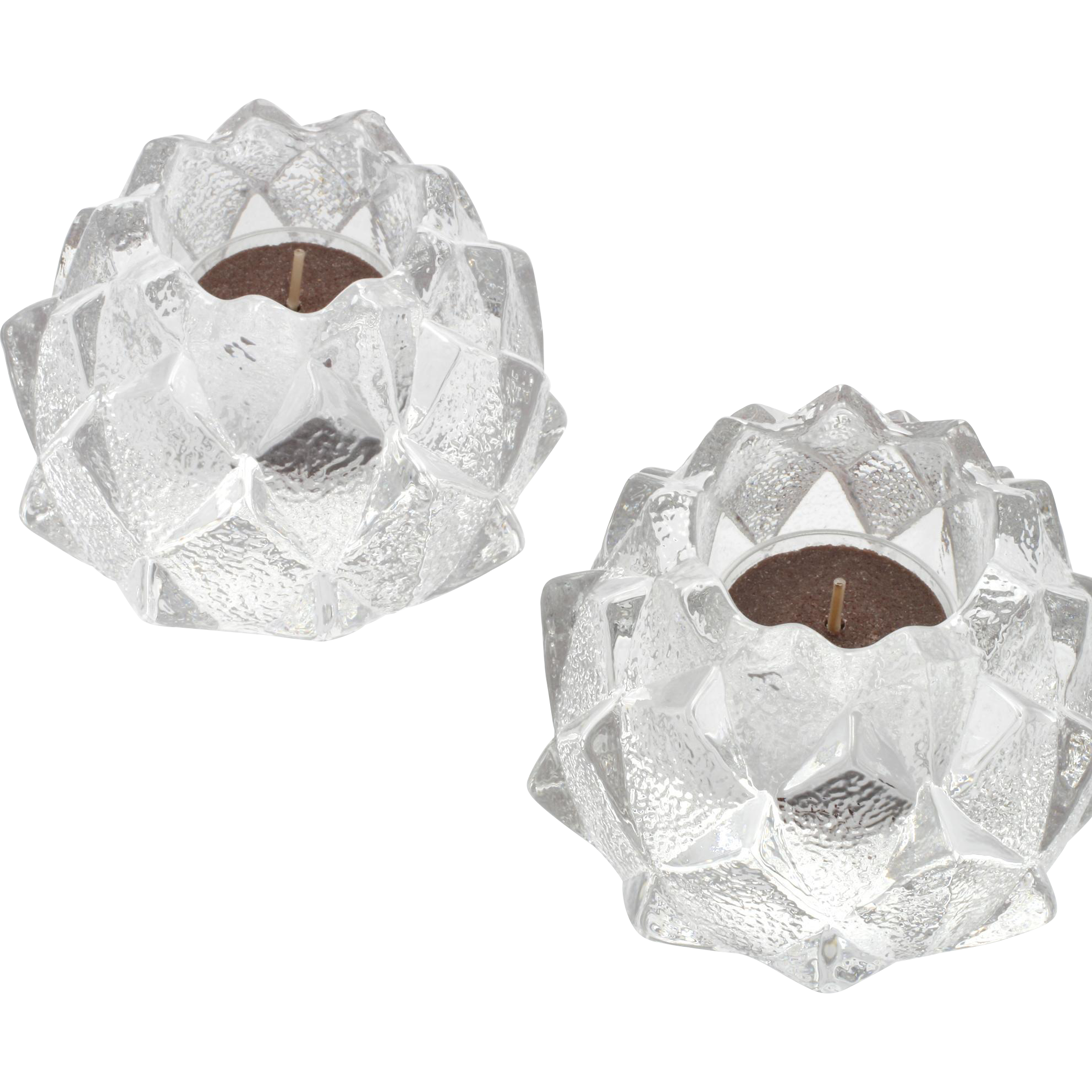 Orrefors Firefly Votive Crystal Candle Holders Pair Swedish Art Glass