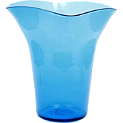 Blenko Turquoise Blue Glass Vase 439M Vintage Early 1950s mid Century Modern