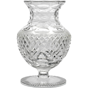Vintage Cut Crystal Flower Vase Thumbprint and Diamonds