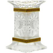 Lalique Crystal Paquerettes Candle Holder Daisy Flower Gilt Band France Candlestick