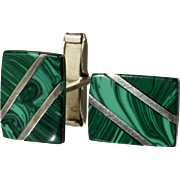 Sterling Silver and Malachite Cufflinks Mad Men Mid Century Style