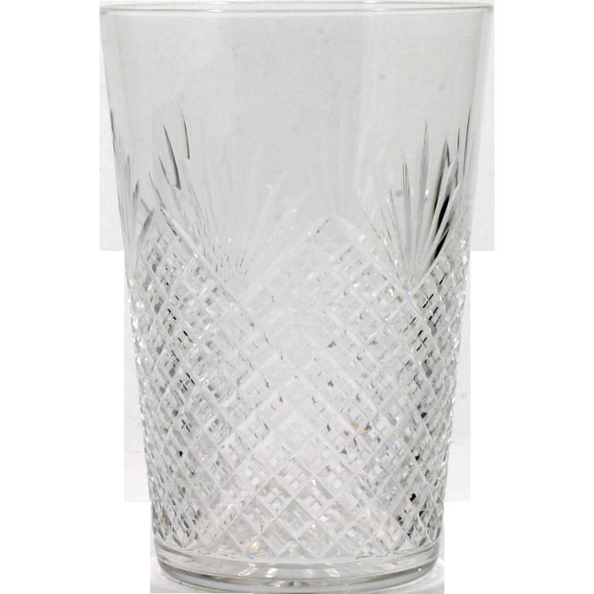 Strawberry and Fan Cut Glass Vase American Brilliant Period Diamonds