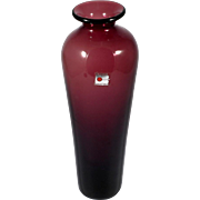 Blenko Amethyst Art Glass Vase Hand Blown Vintage with Label