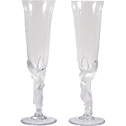 Faberge Kissing Dove Champagne Flutes Crystal Art Glass