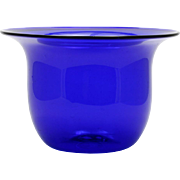 Cobalt Blue Studio Art Glass Vase Bowl Hand Blown Signed T Andre Vintage 1979