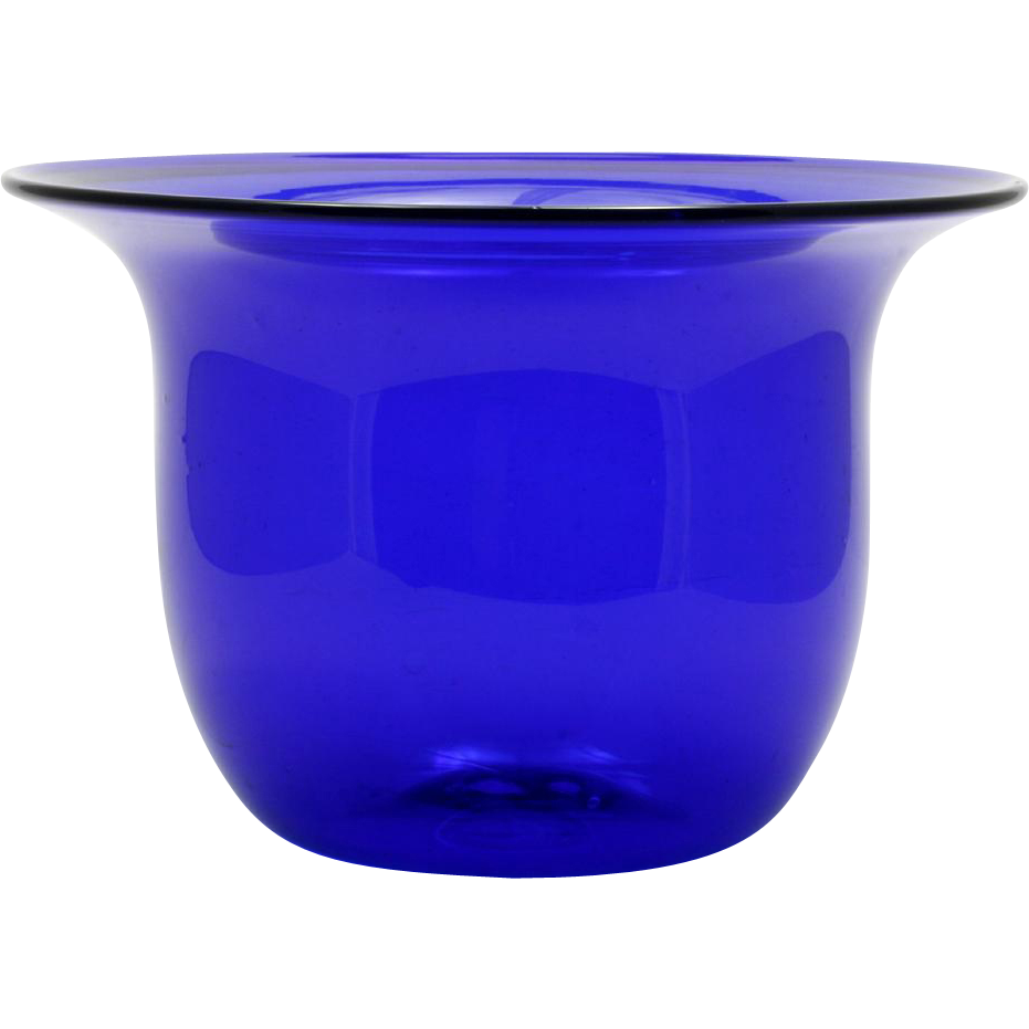 Cobalt blue studio art glass vase bowl hand blown signed t andre cobalt blue studio art glass vase bowl hand blown signed t andre catisfactions glass gallery ruby lane floridaeventfo Image collections